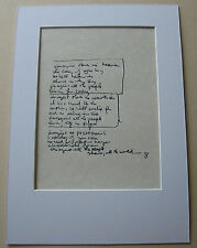 The Beatles JOHN LENNON Imagine MOUNTED HAND WRITTEN LYRICS