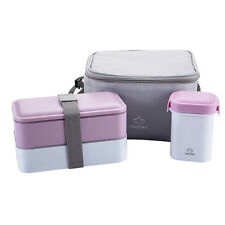 Japanese School Bento Lunch Box Water Soup Mug with Insulated Lunch Tote Bag