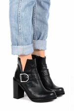 jeffrey campbell 2672 black Wrinkle Leather Buckle Chunky Heel Round Toe Bootie