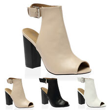 35Q WOMENS PEEP TOE LADIES CUT OUT BLOCK HEEL BUCKLE ANKLE BOOTS SHOES SIZE 3-8