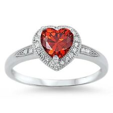 Stunning 925 Sterling Silver Red Garnet CZ Heart Ring Clear CZ Size 4-10