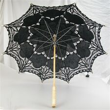 vory/White/Pink/Black Handmade Cotton Lace Parasol Umbrella Bride Wedding CE