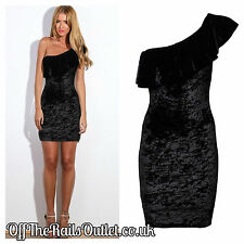 Black velvet off the shoulder Party Dress 8 10 12 14  Bodycon Wiggle New