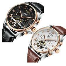 Luxury KINYUED Men Watch Date Stainless Steel Leather Business Sport Wrist Watch
