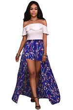 Sexy Ladies Floral Long Maxi Romper White Ruffle Off Shoulder Dress Summer Beach