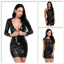 Sexy Women Deep V Party Bodycon Shiny Leather Mini Dress Wet Look Night Clubwear