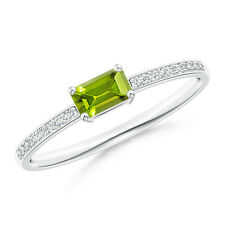 Emerald Cut green Peridot Solitaire Ring with Diamond 14k Solid Gold / platinum