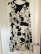 Next Black White Floral Tailored Lined Fit & Flare Dress Party Wedding RRP £45
