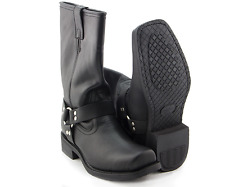 Men's Black Leather Short Harness Motorcycle Riding Biker Boots