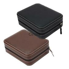 4 Slots Portable Zippered Travel Watch Box Faux Leather Storage Case Organizer