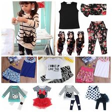 2PCS Toddler Baby Girls T-shirt Vest Tops+ Skirts Shorts Pants Outfits Clothes