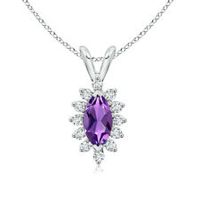 "Vintage Style Marquise Amethyst Diamond Halo Pendant Necklace with 18"" Chain"