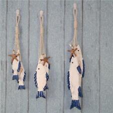 Mediterranean Hand Carved Wood Fish Wall Hanging Decor Sea Plaque Charrm Plaque
