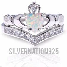 White Fire Opal Claddagh Heart Sterling Silver Ring All Sizes Size 8 Ring Set