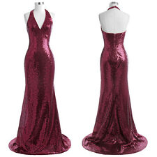 Women Sequined Halter V Neck Ball Gown Evening Prom Party Long Maxi Dress SEXY