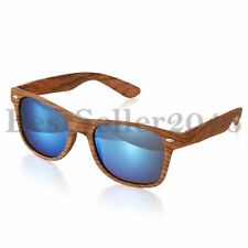 Classic Retro Womens Men Eyewear Sunglasses Faux Wood Reflective Revo Color Lens