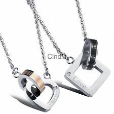 Stainless Steel Forever Love Charm Pendant Necklace Unisex Jewelry Couples Lover