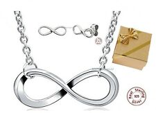 NEW Infinity Jewelry set Necklace Earrings 925 Genuine Silver Endless Love Gift