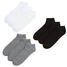 9 Pairs Mens Elastic Sports Trainer Liner Socks Plain Gym Running Multipack NEW
