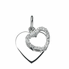 Double Heart Pendant With Cubic Zirconia Stones In 925 Sterling Silver Elements
