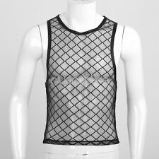 New Mens Muscle Mesh Net Fishnet Sheer Vest Sleeveless Shirt Tank Top Clubwear