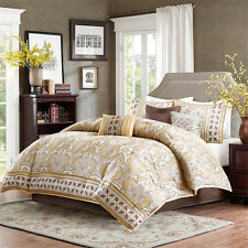 7pc gold ivory brown multi colored floral paisley woven jacquard comforter set