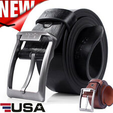 Fashion Men Leather Prong Belt Business Casual Dress Metal Automatic Buckle Belt