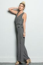 Jazzy Striped Jumpsuit With Tie Misses Size Small Medium Large Summer S M L