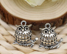 10/40pcs Tibetan Silver Beautiful hollowed Owl Jewelry Charms Pendant 24x25mm
