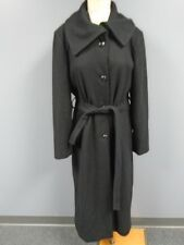 AK ANNE KLEIN Black Wool Blend Lined Button Down Belted Coat Size 14 CC7049