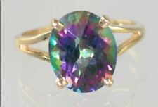 Mystic Fire Topaz, 10KY or 14KY Gold Ring, R132-Handmade