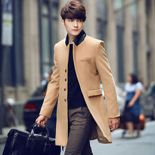 Mens Korean Slim Fit Long Jackets Outwear Stand Collar Woolen Blend Trench Coats