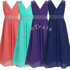 Girl Childs Chiffon Evening Formal Party Ball Gown Bridesmaid Pageant Kid Dress