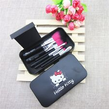 1set Hello Kitty pink black 7Pc/set Mini Makeup brush Set cosmetics kit