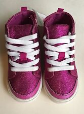 Carters Baby Girl Lace Up Velcro Tennis Shoe Glittery Size 5 or 9 Fuchsia New