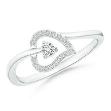 Round Diamond Open Heart Bypass Promise Ring 14K White Gold/ Silver Size 3-13