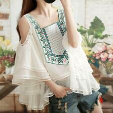 Sh Enthnic Womens White Mixed Color Casual Loose Summer Chiffon Blouse Shirts