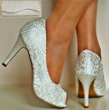 Ladies Ivory Satin Floral Lace High Heel Peep Toe Party Bridal Court Shoes Size