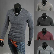 Mens Pullover Casual V-neck Slim Fit Long Sleeve Cardigan Knit Sweaters
