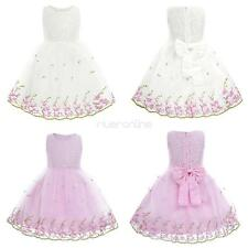 Girls Kids Lace Flower Dress Birthday Party Formal Wedding Pageant Princess New