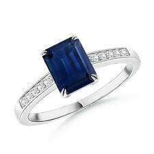 Claw-Set Emerald Cut Sapphire Cocktail Ring with Diamond Accent 14k White Gold