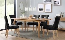 Clarendon & Bewley Extending Oak Dining Table and 4 6 Chairs Set (Black)