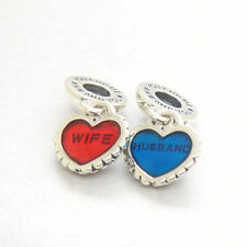 Genuine Authentic S925 Sterling Silver Husband love wife Heart Pendant Charm