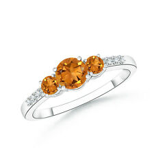 Three Stone Round Natural Citrine Ring with Diamond Accents in 14k White Gold