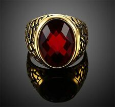 Summer Stainless Steel Red Color Stone Finger Rings For Women