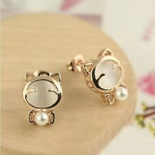 Women Fashion Cute Crystal Gold Pleated Pearl Stud Earring JEZ049