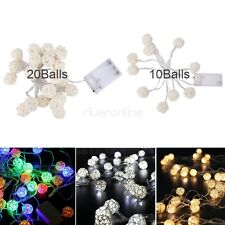 10/20 Rattan Balls Battery Copper Silver Wire String Fairy Light Xmas Party Lamp