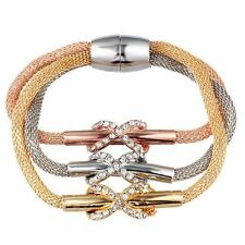 Heart Shape Link Chain Alloy Metal Crystal Decorated Bracelet For Women
