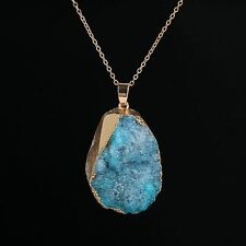 New Copper Gold Plated Raw Stone Chains Pendant For Women 40-45cm