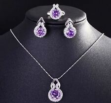 Women Silver Pleated Crystal Ring Earrings And Necklace Jewelry Set
